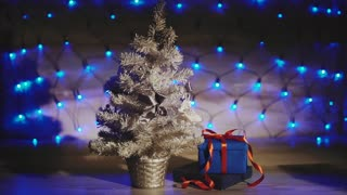 Present under the small silver Christmas tree blue garland background.