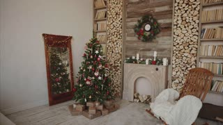 Presents and gifts under christmas tree in the decorated room