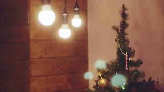 Shot of Christmas tree and ornaments indoor
