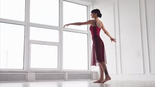a young and pretty woman is engaged in modern dance with an element of ballet, the lady elegantly raises her hands up and whirls in the studio
