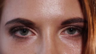 close up shot of the gray eyes of a young woman, the lady has make-up eyelashes, mascara on the eyes and light shadows on the upper eyelid