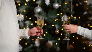 close up shot of women and men hands who holds glasses with champagne, in the back is a decorated Christmas tree, a pair clink glasses with alcoholic drinks in the new year