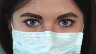 Extreme close-up of a woman wearing medical face mask. Protection from air pollution and infection