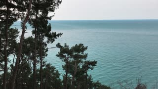 Fantastic shot of a beautiful azure sea from mountains. Amazing weather, calm sea. Trees and ocean.