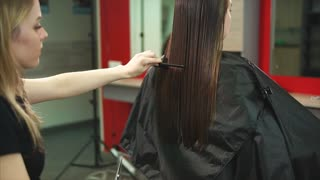 The hairdresser of the beauty salon is cutting hair for the girl who came to change her hair, the stylist by hair cuts the split ends and changes the length of the hair to change the image