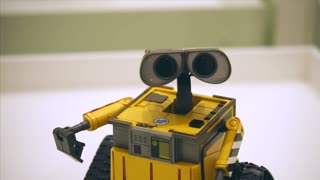 TOGLIATTI, RUSSIA - JULY 21, 2017: Toy robot Wall-E. Hero of Disney's and Pixar's cartoons. In exhibition City of Robots in the Mall Park House.