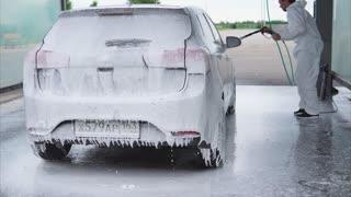 Foam Spray Car Wash >> Car Wash Using A White Foam Detergent Cleanser In Slow Motion Stock Video Footage Storyblocks Video