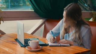 Young business woman work in cafe using laptop writing in notebook