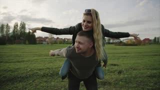 Young couple enjoying autumn day