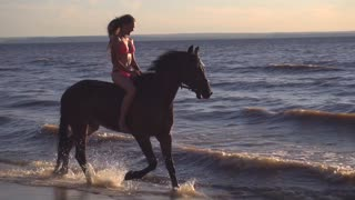 Young sexy woman dressed bikini riding on horse in the river water