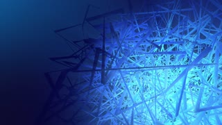 Abstract Geometry TAO background in dark ambiance with blue lights