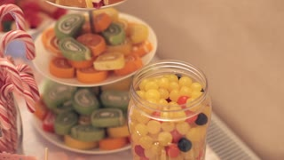 Candy bar with cookies and colorful candy for birthday, anniversary, wedding