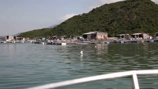 Shot of vietnamese islands from boat