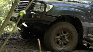 Expeditionary SUV got stuck in the mud in the forest.