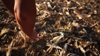 Farmer preparing soil for next season. Permaculture ecology farming concept