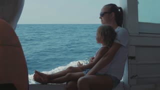 Funny emotions of family while they trip on the boat