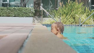 Hd 4k Baby Climbing Out Of Swimming Pool Videos Videoblocks Royalty Free Baby Climbing Out