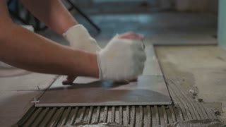 Professional worker laying tiles on floor