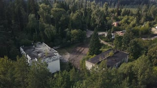Drone view military shooting range for learning soldier driving training on tank