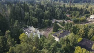 Landscape from above military area for education soldier driving armored vehicle