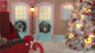 Blurred Santa's Sleigh With Presents Box