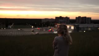 Girl at Sunset on Hill