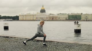 Girl Playing Sports on the Waterfront of the City of St. Petersburg