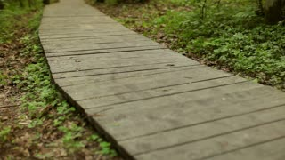 Girl Runs Along a Wooden Walkway in the Forest