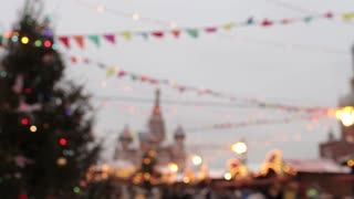 Moscow. Red Square. Blurred Christmas Fair