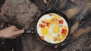 Scrambled Eggs With Mushrooms and Pepper on Fire