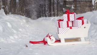 Sleigh With Gifts Are in the Winter Forest