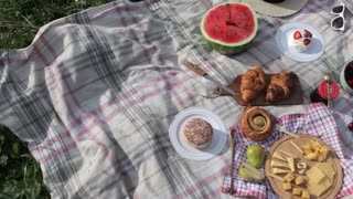 Summer Picnic on the Rug. Fruits, Berries, Pastries and Cheese