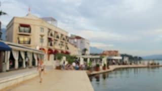 blurred embankment of a luxury resort town