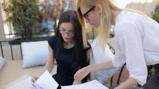 Business Woman Director and Subordinate Discuss Documents Contract