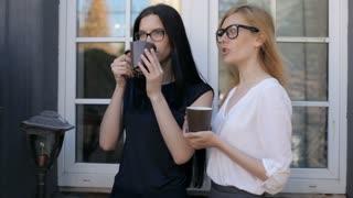 Business Women Drink Coffee on the Terrace by the Window
