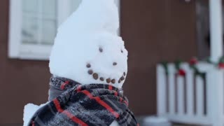 cheerful snowman with scarf at christmas house