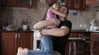 Dad Hugs His Daughter, Family, Love
