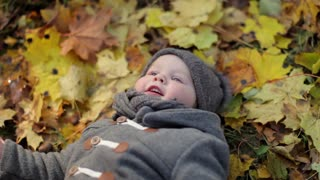 fashionable little baby lies in the autumn foliage
