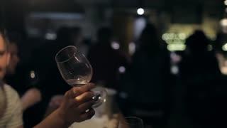 Filled Wine Bar, Friends Clink Glasses