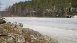 girl traveler on the shore of a frozen lake
