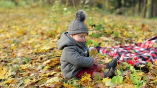 little stylish baby in a coat sits in an autumn park