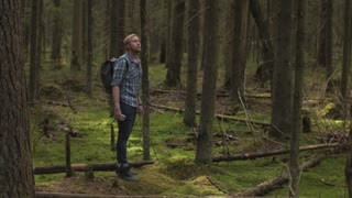 man traveler with a backpack in the woods