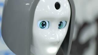Modern Robotic Technologies. portrait of a talking robot woman