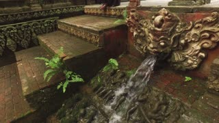old fountain in Thai style at the stairs