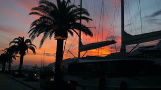 silhouette of a yacht at the pier with palm trees at sunset