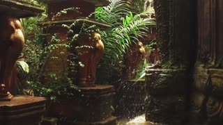 slow motion. fountain in the Asian style in the jungle