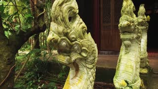 statue of snakes of dragons at the Thai temple