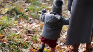 stylish little girl with mom are walking in autumn park