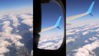 Traveling by air. Clouds seen through the window of airplane. Vertical video montage.