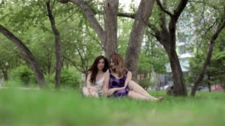 Two Friends Girls Sit and Chat Under the Tree in the Park in the Summer
